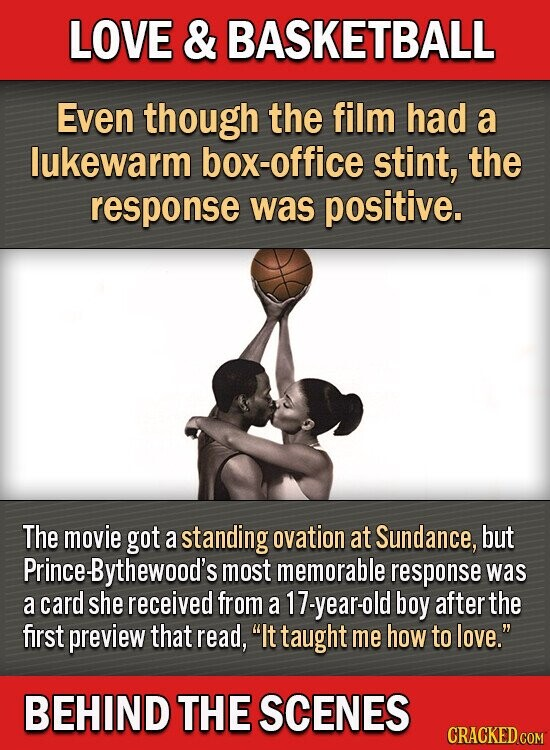 LOVE & BASKETBALL Even though the film had a lukewarm box-office stint, the response was positive. The movie got a standing ovation at Sundance, but Prince. Bythewood's most memorable response was a card she received from a 17-year-old boy after the first preview that read, It taught me how to