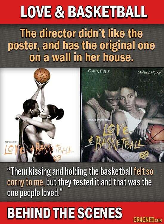 LOVE & BASKETBALL The director didn't like the poster, and has the original one on a wall in her house. OuR EpPs SANAA LATHAN ALLS PAIR IH.. LOrE BASHETBHLL IS BASKETBHLL Them kissing and holding the baske tball felt SO corny to me, but they tested it and that was the