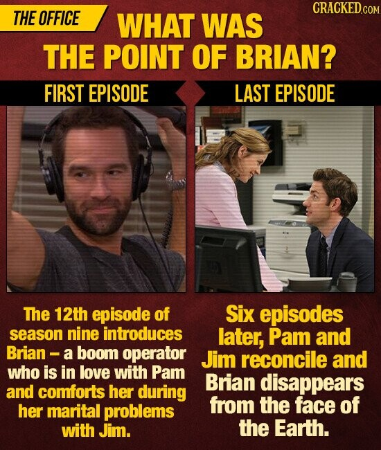 CRACKEDCO THE OFFICE WHAT WAS THE POINT OF BRIAN? FIRST EPISODE LAST EPISODE The 12th episode of Six episodes season nine introduces later, Pam and Brian - a boom operator Jim reconcile and who is in love with Pam Brian disappears and comforts her during from the face of her marital