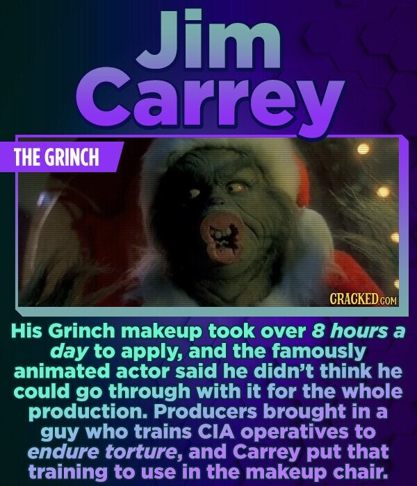 Jim Carrey THE GRINCH CRACKED COM His Grinch makeup took over 8 hours a day to apply, and the famously animated actor said he didn't think he could go