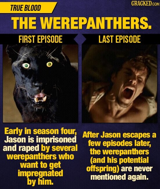 CRACKED TRUE BLOOD THE WEREPANTHERS. FIRST EPISODE LAST EPISODE Early in season four, After Jason escapes a Jason is imprisoned few episodes later, and raped by several the werepanthers werepanthers who (and his potential want to get offspring) never impregnated are mentioned again. by him.