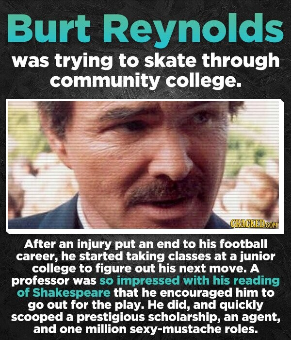 Burt Reynolds was trying to skate through community college. After an injury put an end to his football career, he started taking classes at a junior college to figure out his next move. A professor was so impressed with his reading of Shakespeare that he encouraged him to go