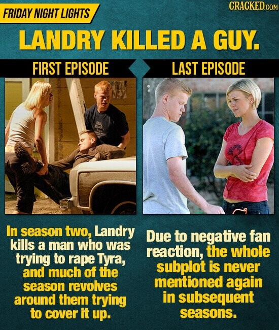 CRACKED.c FRIDAY NIGHT LIGHTS LANDRY KILLED A GUY. FIRST EPISODE LAST EPISODE In season two, Landry Due to negative fan kills a man who was reaction, the whole trying to rape Tyra, subplot is of never and much the mentioned season revolves again around them trying in subsequent to cover