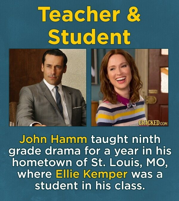 Teacher & Student CRACKED GOM John Hamm taught ninth grade drama for a year in his hometown of St. Louis, MO, where Ellie Kemper was a student in his class.