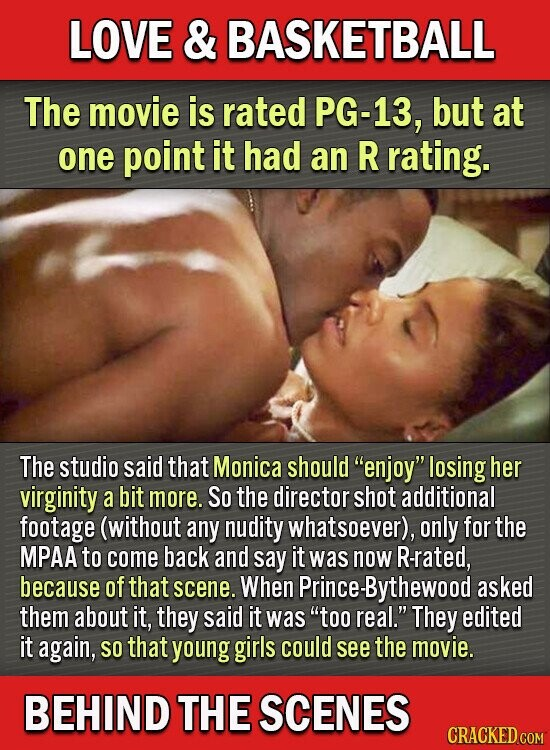 LOVE & BASKETBALL The movie is rated PG-13, but at one point it had an R rating. The studio said that Monica should enjoy losing her virginity a bit more. So the director shot additional footage (without any nudity whatsoever), only for the MPAA to come back and say it