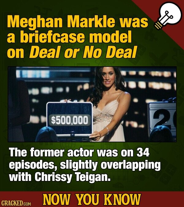 Meghan Markle was a briefcase model on Deal or No Deal 2 $500,000 The former actor was on 34 episodes, slightly overlapping with Chrissy Teigan. NOW YOU KNOW CRACKED COM