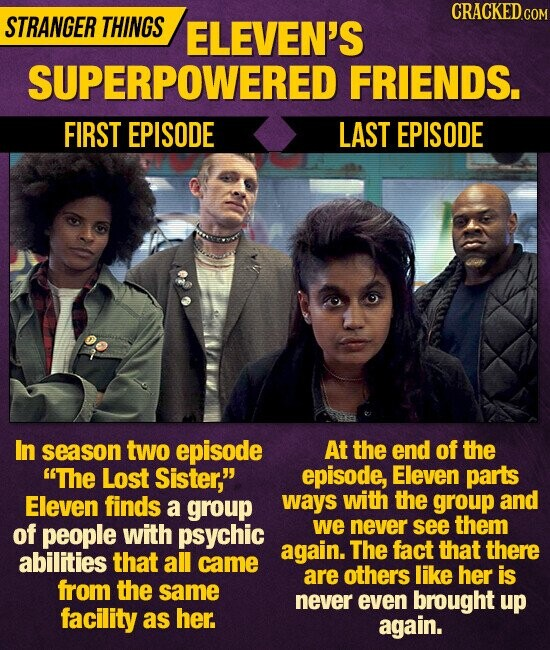 CRACKEDCO STRANGER THINGS ELEVEN'S SUPERPOWERED FRIENDS. FIRST EPISODE LAST EPISODE In season two episode At the end of the The Lost Sister, episode, Eleven parts Eleven finds with a group ways the group and of people with psychic we never see them again. The fact that there abilities that all