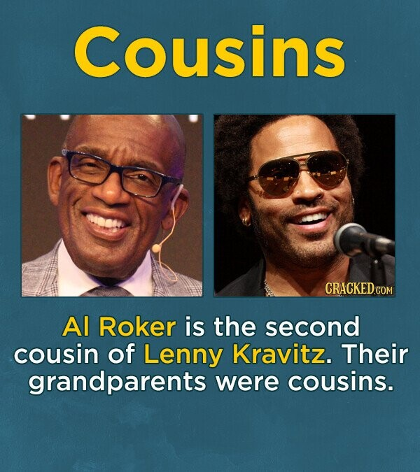Cousins CRACKEDO Al Roker is the second cousin of Lenny Kravitz. Their grandparents were cousins.