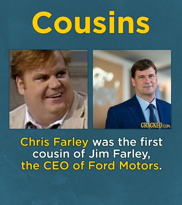 Cousins CRACKEDcO Chris Farley was the first cousin of Jim Farley, the cEo of Ford Motors.