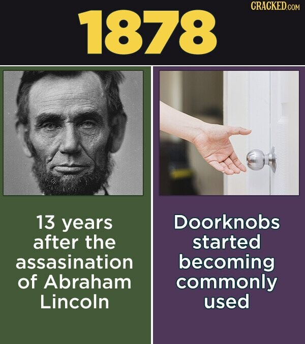 1878 CRACKED.COM 13 years Doorknobs after the started assasination becoming of Abraham commonly Lincoln used