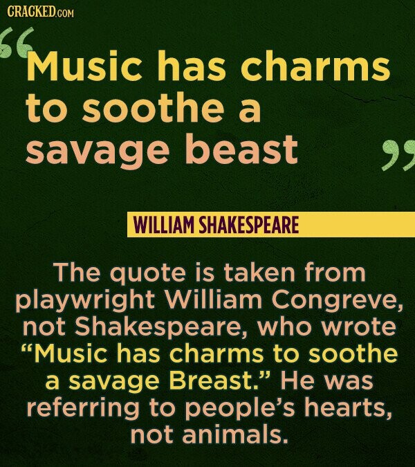 CRACKED.COM Music has charms to soothe a savage beast WILLIAM SHAKESPEARE The quote is taken from playwright William Congreve, not Shakespeare, who wr