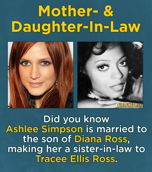 Mother- & Daughter- r_In-Law Did you know Ashlee Simpson is married to the son of Diana Ross, making her a sister-in-law to Tracee Ellis Ross.