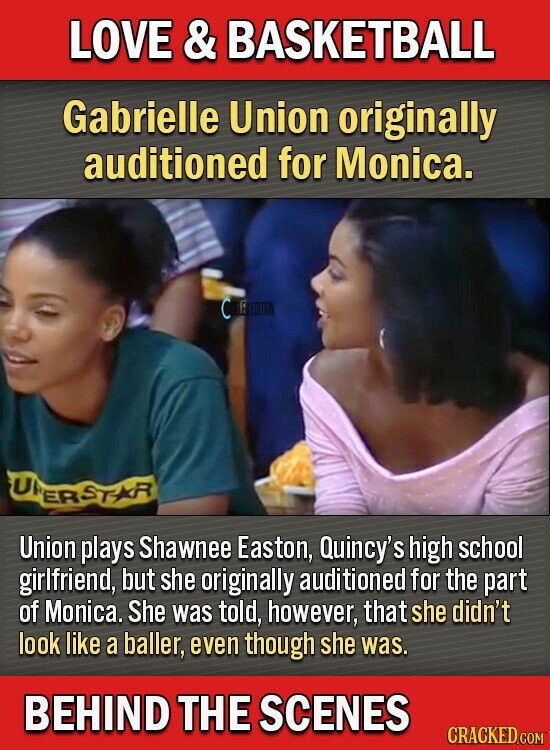 LOVE & BASKETBALL Gabrielle Union originally auditioned for Monica. EREOITION UI STR ER Union plays Shawnee Easton, Quincy's high school girlfriend, but she originally auditioned for the part of Monica. She was told, however, that she didn't look like a baller, even though she was. BEHIND THE SCENES