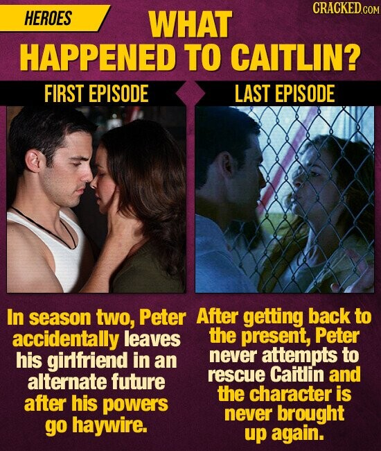 CRACKED HEROES WHAT HAPPENED TO CAITLIN? FIRST EPISODE LAST EPISODE In season two, Peter After getting back to accidentally leaves the present, Peter his girlfriend in never attempts to an alternate future rescue Caitlin and the character is after his powers never brought go haywire. up again.