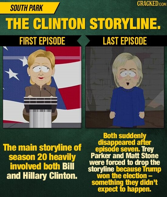 CRACKEDc SOUTH PARK THE CLINTON STORYLINE. FIRST EPISODE LAST EPISODE Both suddenly disappeared after The main storyline of episode seven. Trey season 20 heavily Parker and Matt Stone forced both to involved drop Bill were the storyline because Trump and Hillary Clinton. won the election - something they didn't expect to