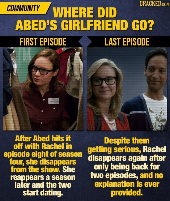 CRACKED C COMMUNITY WHERE DID ABED'S GIRLFRIEND GO? FIRST EPISODE LAST EPISODE After Abed hits it Despite them off with Rachel in getting serious, Rachel episode eight of season disappears again after four, she disappears only being back for from the show. She two reappears episodes, and no a season later
