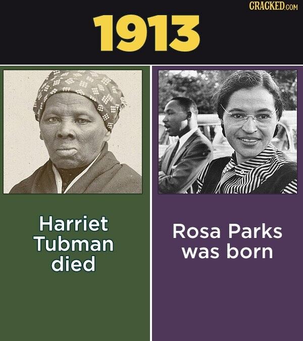 CRACKED.COM 1913 Harriet Rosa Parks Tubman was born died