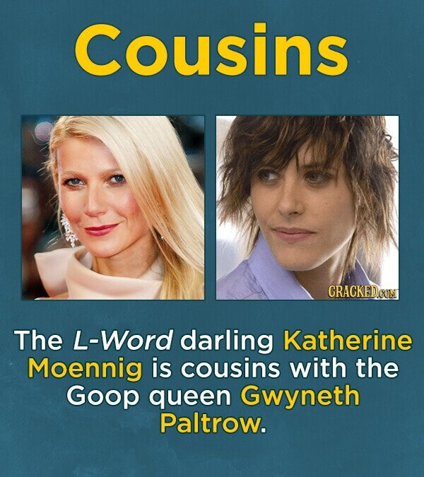 Cousins The L-Word darling Katherine Moennig is cousins with the Goop queen Gwyneth Paltrow.