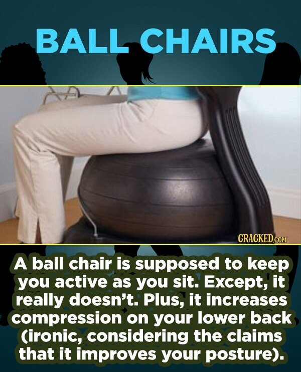 BALL CHAIRS CRACKEDCO A ball chair is supposed to keep you active as you sit. Except, it really doesn't. Plus, it increases compression on your lower