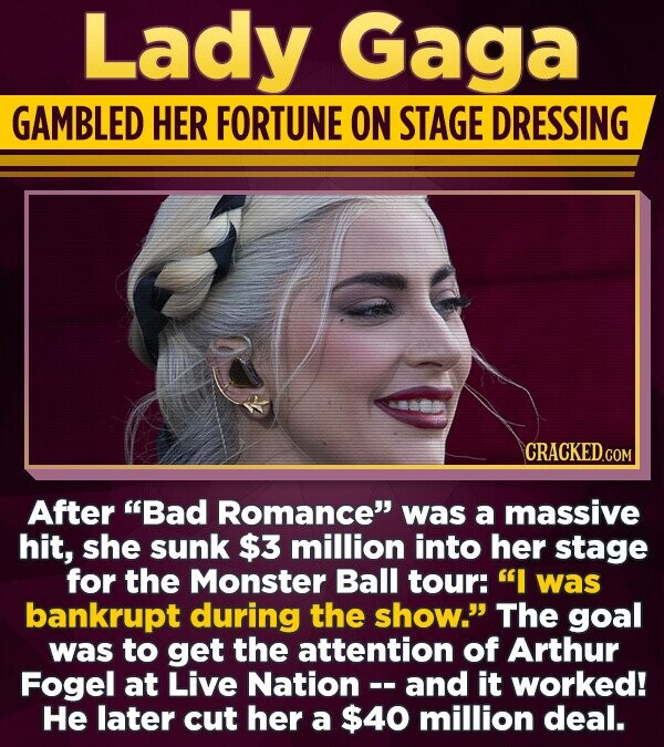 Lady Gaga GAMBLED HER FORTUNE ON STAGE DRESSING After Bad Romance was a massive hit, she sunk $3 million into her stage for the Monster Ball tour: I was bankrupt during the show. The goal was to get the attention of Arthur Fogel at Live Nation - and it worked!