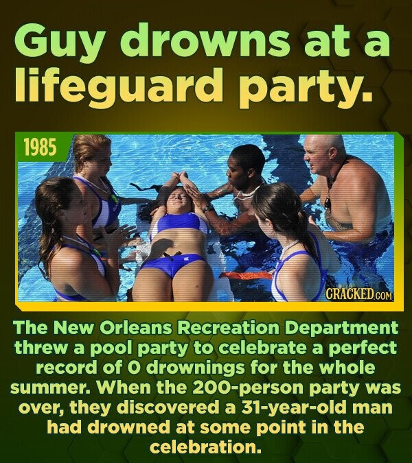 Guy drowns at a lifeguard party. 1985 The New Orleans Recreation Department threw a pool party to celebrate a perfect record of O drownings for the wh