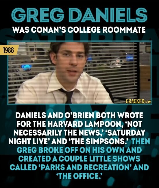 GREG DANIELS WAS CONAN'S COLLEGE ROOMMATE 1988 DANIELS AND O'BRIEN BOTH WROTE FOR THE HARVARD LAMPOON, 'NOT NECESSARILY THE NEWS,' 'SATURDAY NIGHT LIVE' AND 'THE SIMPSONS.' THEN GREG BROKE OFF ON HIS OWN AND CREATED A COUPLE LITTLE SHOWS CALLED PARKS AND RECREATION' AND 'THE OFFICE.'