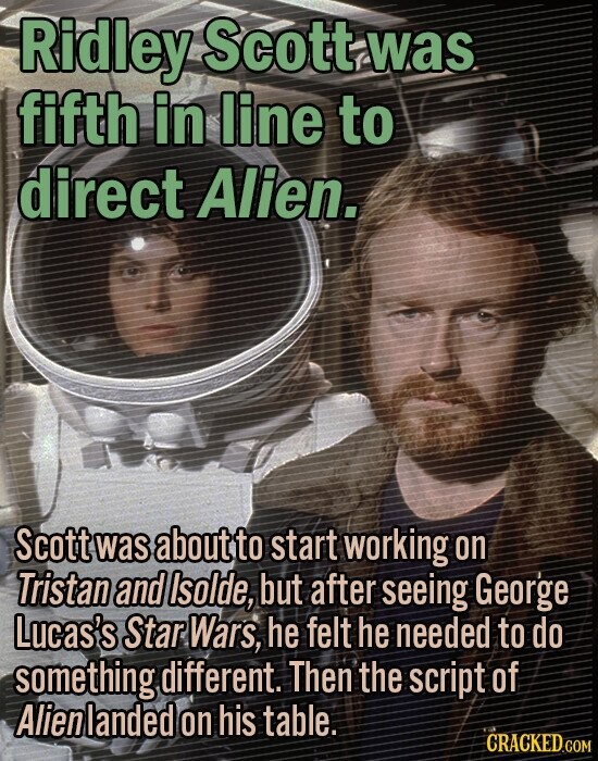 Ridley Scott was. fifth in line to direct Alien. Scott waS about to start working on Tristan and Isolde, but after seeing George Lucas's Star Wars, he felt he needed to do something different. Then the script of Alienlanded on his table.