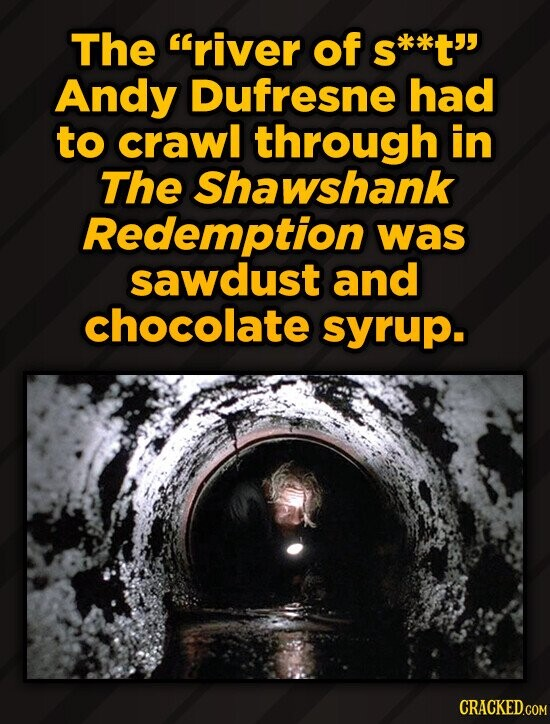 The river of s*t' Andy Dufresne had to crawl through in The Shawshank Redemption was sawdust and chocolate syrup.