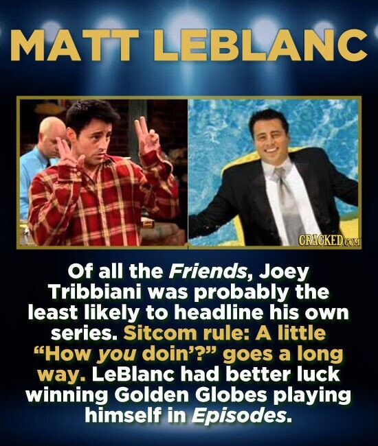 MATT LEBLANC CRAGKEDCOT Of all the Friends, Joey Tribbiani was probably the least likely to headline his own series. Sitcom rule: A little How you do