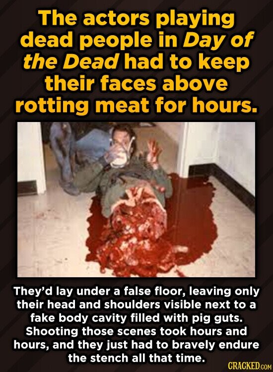 The actors playing dead people in Day of the Dead had to keep their faces above rotting meat for hours. They'd lay under a false floor, leaving only t