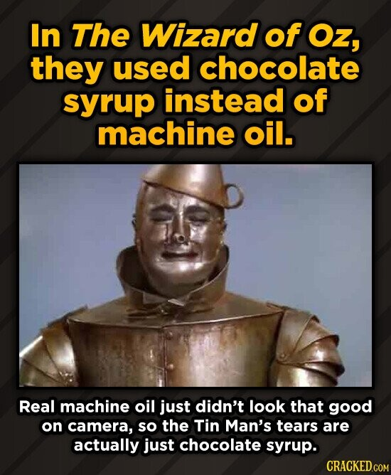 In The Wizard of Oz, they used chocolate syrup instead of machine oil. Real machine oil just didn't look that good on camera, so the Tin Man's tears a
