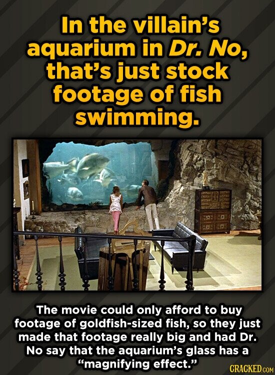 In the villain's aquarium in Dr. No, that's just stock footage of fish swimming. The movie could only afford to buy footage of goldfish-sized fish, so
