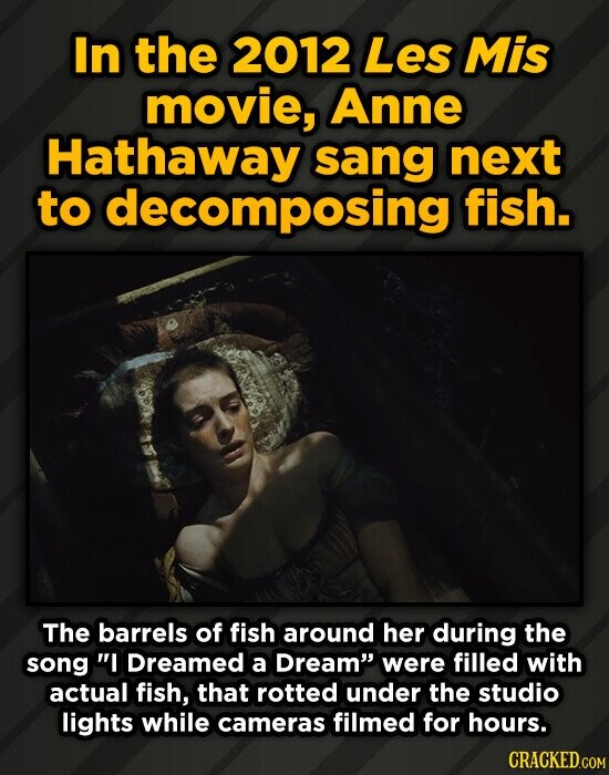 In the 2012 Les Mis movie, Anne Hathaway sang next to decomposing fish. The barrels of fish around her during the song I Dreamed a Dream were filled