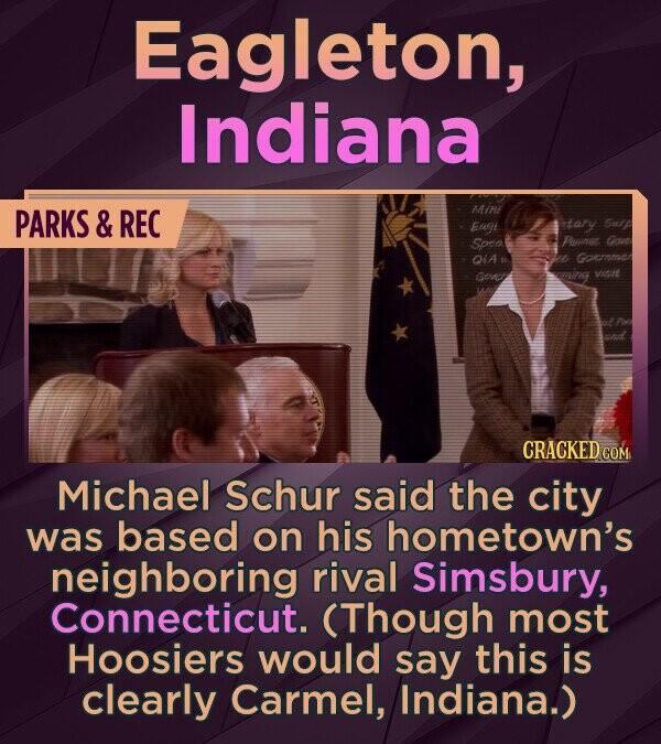 Eagleton, Indiana PARKS & REC MAint Eagt tary Sulp Spea Poanes Oon Ota Gocrnme Covet aming vacit Michael Schur said the city was based on his hometown