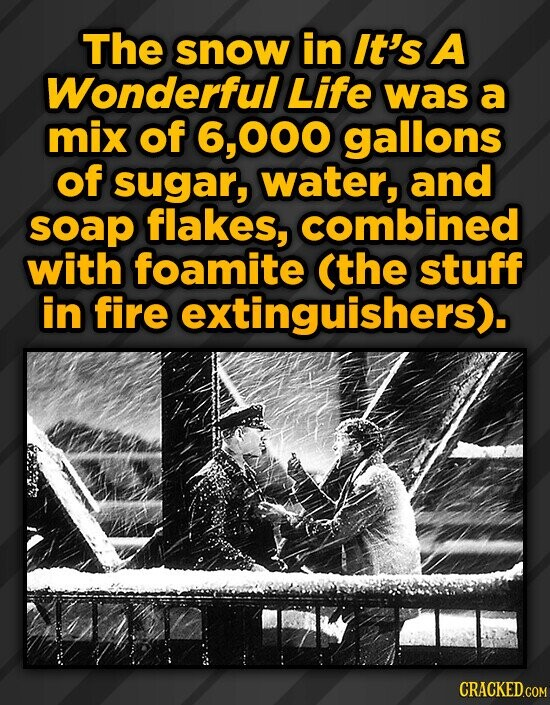 The snow in It's A Wonderful Life was a mix of 000 gallons of sugar, water, and soap flakes, combined with foamite (the stuff in fire extinguishers).