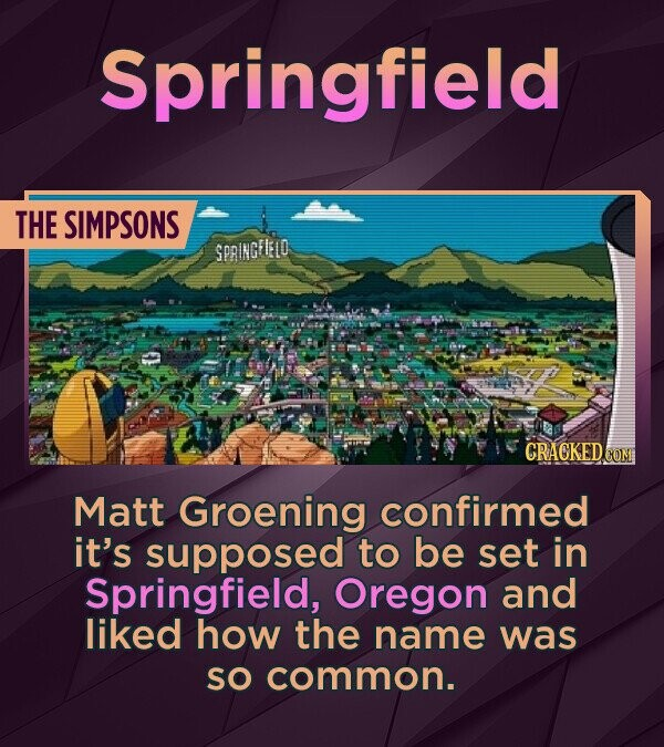 Springfield THE SIMPSONS SPRINGFLELO Matt Groening confirmed it's supposed to be set in Springfield, Oregon and liked how the name was SO common.