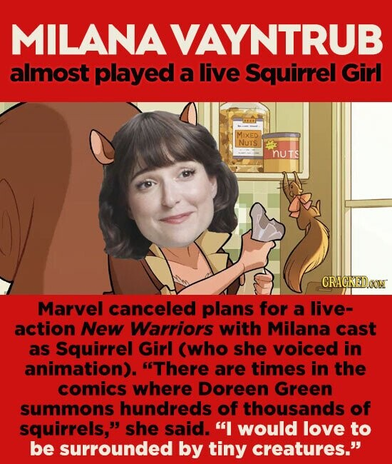 MILANAVAYNTRUB almost played a live Squirrel Girl MIXED NUTS NUTs CRACKEDGONN Marvel canceled plans for a live- action New Warriors with Milana cast as Squirrel Girl (who she voiced in animation). There are times in the comics where Doreen Green summons hundreds of thousands of squirrels, she said. I would