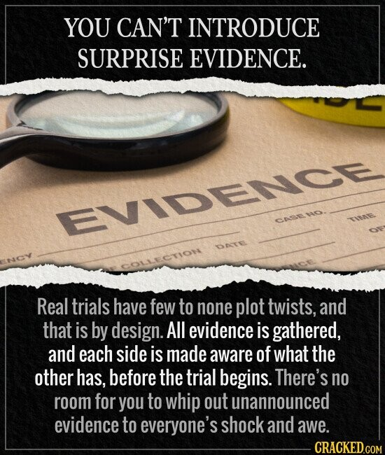 YOU CAN'T INTRODUCE SURPRISE EVIDENCE. Real trials have few to none plot twists, and that is by design. All evidence is gathered, and each side is made aware of what the other has, before the trial begins. There's no room for you to whip
