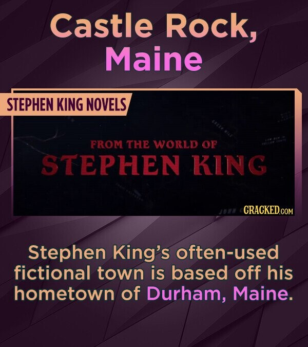 Castle Rock, Maine STEPHEN KING NOVELS FROM THE WORLD OP STEPHEN KInG CRACKED.COM Stephen King's often-used fictional town is based off his hometown o