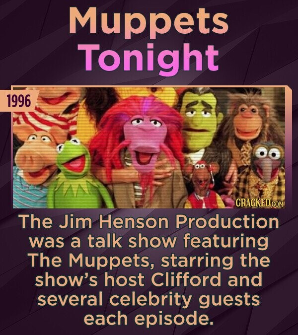 Muppets Tonight 1996 CRACKED COM The Jim Henson Production was a talk show featuring The Muppets, starring the show's host Clifford and several celebrity guests each episode.