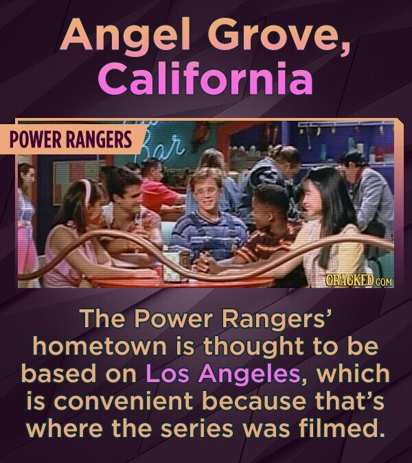Angel Grove, California POWER RANGERS CRACKED CON The Power Rangers' hometown is thought to be based on LOs Angeles, which is convenient because that'