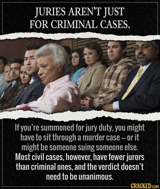 JURIES AREN'T JUST FOR CRIMINAL CASES. If you're summoned for jury duty, you might have to sit through a murder case- or it might be someone suing someone else. Most civil cases, however, have fewer jurors than criminal ones, and the verdict doesn't need to be unanimous.