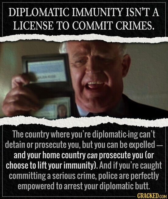 DIPLOMATIC IMMUNITY ISN'T A LICENSE TO COMMIT CRIMES. The country where you're diplomatic-ing can't detain or prosecute you, but you can be expelled- and your home country can prosecute you (or choose to lift your immunity). And if you're caught committing a serious crime, police are perfectly empowered to arrest