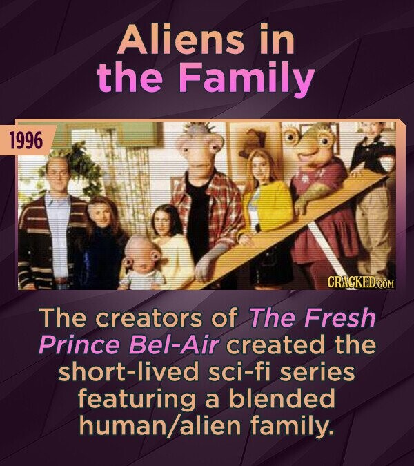 Aliens in the Family 1996 The creators of The Fresh Prince Bel-Air created the short-lived sci-fi series featuring a blended human/alien family.