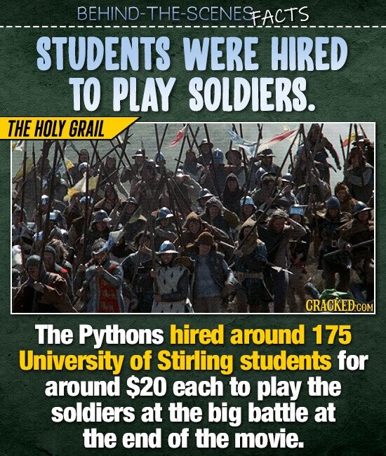 BEHIND-THE-SCENESFACTS STUDENTS WERE HIRED TO PLAY SOLDIERS. THE HOLY GRAIL CRACKED COM The Pythons hired around 175 University of Stirling students for around $20 each to play the soldiers at the big battle at the end of the movie.