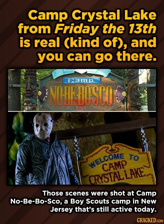 Camp Crystal Lake from Friday the 13th is real Ckind of), and you can go there. Camp NOREFOSCO TO WELCOME CAMP CRYSTALLAKE Those scenes were shot at Camp No-Be-Bo-Sco, a Boy Scouts camp in New Jersey that's still active today.