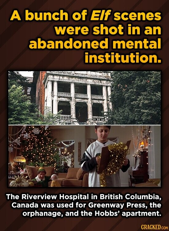 A bunch of Elf scenes were shot in an abandoned mental institution. TTTE The Riverview Hospital in British Columbia, Canada was used for Greenway Press, the orphanage, and the Hobbs' apartment.