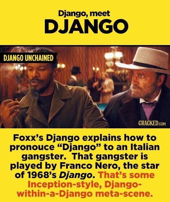 Django, meet DJANGO DJANGO UNCHAINED CRACKED.COM Foxx's Django explains how to pronouce Django to an Italian gangster. That gangster is played by Franco Nero, the star of 1968's Django. That's some Inception-style, Django- within-a-Django meta-scene.