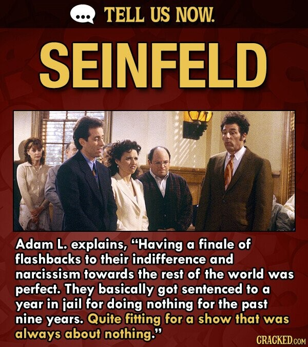 TELL US NOW. SEINFELD Adam L. explains, Having a finale of flashbacks to their indifference and narcissism towards the rest of the world was perfect. They basically got sentenced to a year in iail for doing nothing for the past nine years. Quite fitting for a show that was always