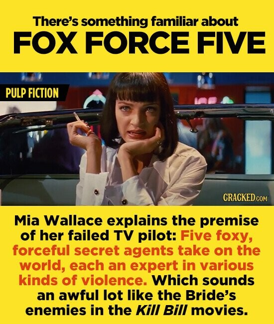 There's something familiar about FOX FORCE FIVE PULP FICTION CRACKEDcO Mia Wallace explains the premise of her failed TV pilot: Five foxy, forceful secret agents take on the world, each an expert in various kinds of violence. Which sounds an awful lot like the Bride's enemies in the KilL BilI